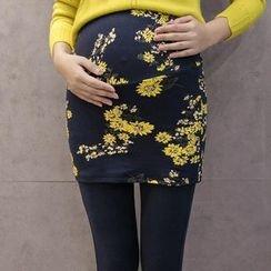 Cheer Mom - Inset Printed Skirt Maternity Leggings