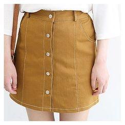 Sechuna - Band-Waist Buttoned Mini Skirt