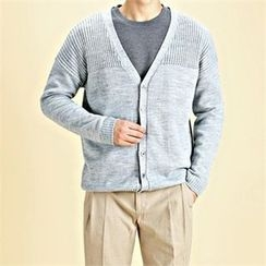 THE COVER - V-Neck Rib-Knit Trim Cardigan