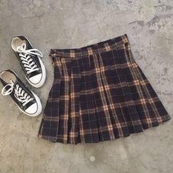 YUKISHU - Plaid Pleated Skirt