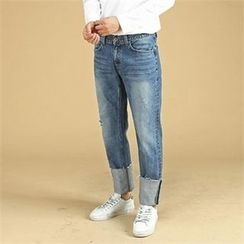 THE COVER - Wide-Leg Washed Jeans