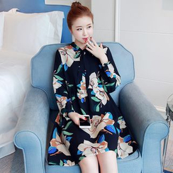 Hearty Bliss - Maternity Floral Print Long Sleeve Dress