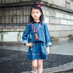 Pegasus - Kids Set: Long-Sleeve Denim Top + Skirt