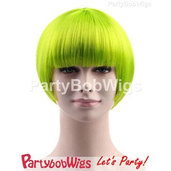 Party Wigs - PartyBobWigs - Party Short Bob Wig - Neon Lime