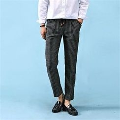 THE COVER - Band-Waist Striped Pants