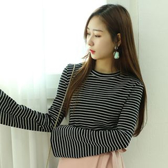Dodostyle - Pinstripe Bell-Sleeve T-Shirt
