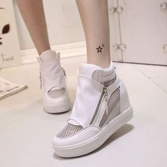 Yoflap - Mesh Trim Side Zip Hidden Wedge Sneakers
