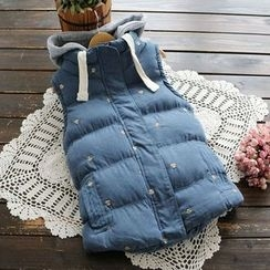 YOYO - Hooded Puffer Embroidery Vest