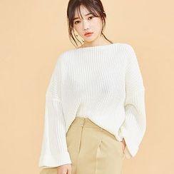 chuu - Boat-Neck Oversized Rib-Knit Sweater