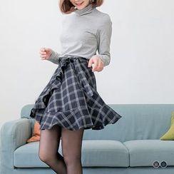 OrangeBear - 荷葉邊綁帶造型格紋短裙