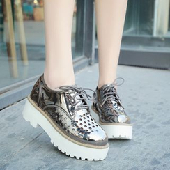Sleeko - Perforated Platform Lace-Up Shoes