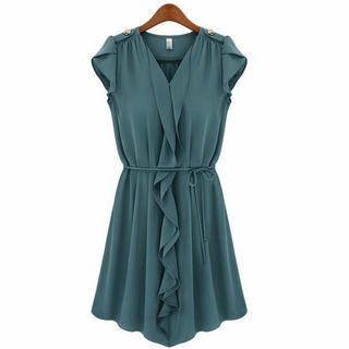 Ringnor - Petal-Sleeve Ruffled Dress