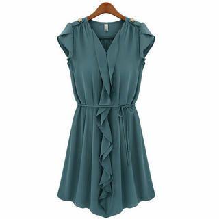 Ringnor - Petal-Sleeve Ruffled Dress