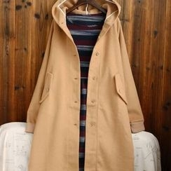 tete - Wool Blend Hooded Button Coat