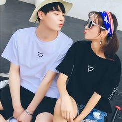 Simpair - Couple Matching Embroidered Short-Sleeve T-shirt