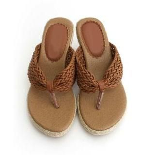 DANI LOVE - Woven Wedge Slippers