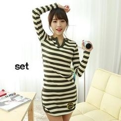 Dodostyle - Set: Stripe Open-Placket Top + Stripe Band-Waist Skirt