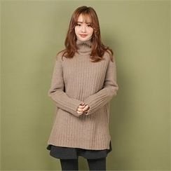 Styleberry - Turtle-Neck Rib-Knit Sweater