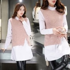 Romantica - Mock Two-Piece Knit Top
