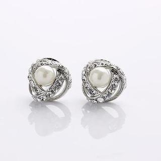 Love Generation - Rhinestone Faux-Pear Earrings
