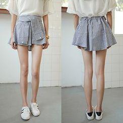 OCTALE - Tie Front Striped Mini Skirt
