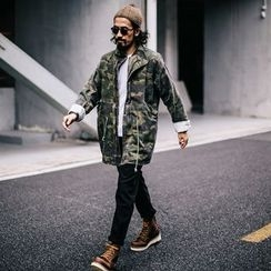 YIDESIMPLE - Detachable Fleece-Lined Camo Long Jacket