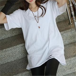 CHICFOX - Elbow-Sleeve Cut-Out T-Shirt