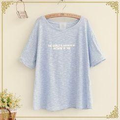 Fairyland - Lettering Striped Short Sleeve T-Shirt