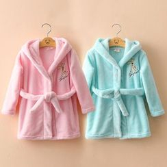 Seashells Kids - Kids Embroidered Hooded Robe