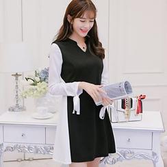 Nyssa - 拼接修身长袖连衣裙