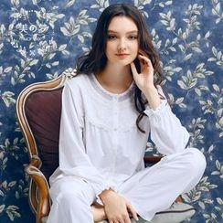 Mydream - Loungewear Set: Embroidered Long-Sleeve Top + Pants