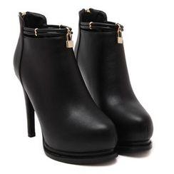 Monde - High-Heel Zip Ankle Boots