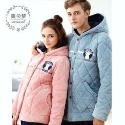Mydream - Couple Matching Loungewear Set: Quilted Hooded Jacket + Pants