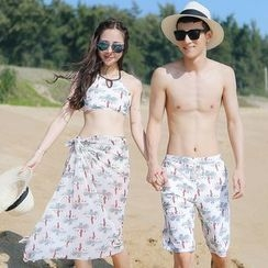 Beach Date - Set: Printed Bikini + Scarf