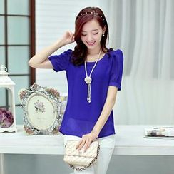 Mooiee - Shirred-Shoulder Chiffon Blouse