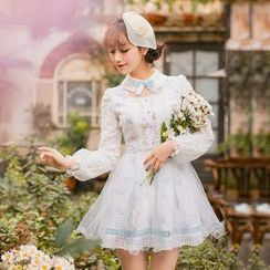 Candy Rain - Long-Sleeve Lace Panel A-line Dress