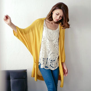 OrangeBear - Batwing-Sleeve Open-Front Long Cardigan