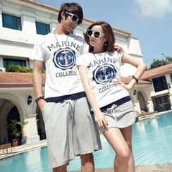 Tabula Rasa - Couple Matching Set: Printed T-shirt + Skirt / Shorts