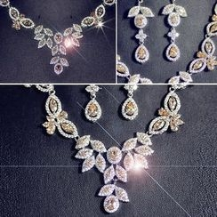 Nanazi Jewelry - Set: Rhinestone Necklace + Earrings