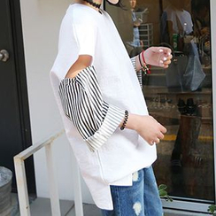 Cloud Nine - Striped Cutout Sleeve T-Shirt