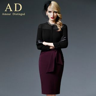 Aision - Set: Mesh Panel Top + Tied Pencil Skirt