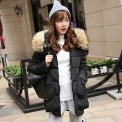 Romantica - Furry-Trim Hooded Padded Zip Coat