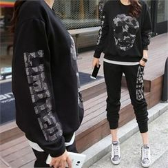 PINKSISLY - Set: Skull Studded Pullover + Sweat Pants