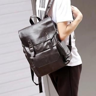BagBuzz - Faux Leather Buckled Backpack