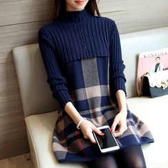 Ageha - Long-Sleeve Knit Panel A-Line Dress