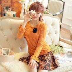 Kaven Dream - Set: Long-Sleeve Knit Top + Floral Skirt