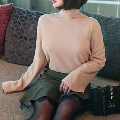 Seoul Fashion - Turtle-Neck Cutaway Top