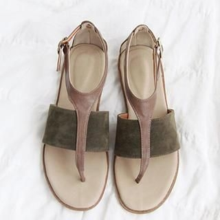 NANING9 - Faux Suede Panel Thong Sandals