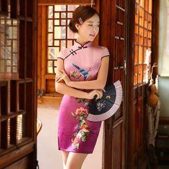 Janelle Qipao - 数码花真丝短袖旗袍