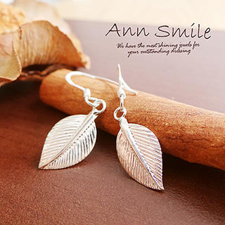 AnnSmile - 925 Silver Leaf Earrings